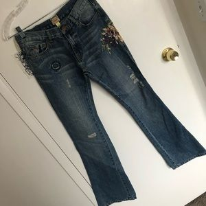 Abercrombie embroidered flare denim NWT